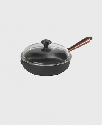 Deep pan 25 cm wooden handle and glass lid.