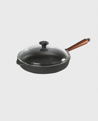 Deep pan 28 cm wooden handle and glass lid.